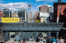 Uitzicht vanaf de High Line op een van de ..th straten in West, Chelsea